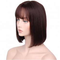 """Full Lace Wig, Short Length, 10"""", Bob Cut With Fringe, Color #2 (Darkest Brown), Made With Remy Indian Human Hair"""