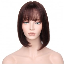 "Full Lace Wig, Bob with Fringe, 10"", Color 2 (Darkest Brown)"