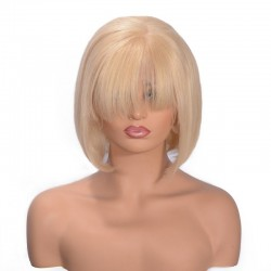 "Full Lace Wig, Bob with Fringe, 10"", Color 22 (Light Pale Blonde)"