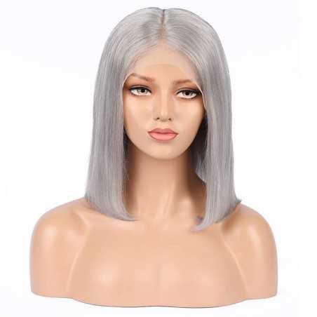 "Full Lace Wig, Bob, 10"", Color Grey (Silver)"