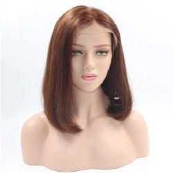 "Full Lace Wig, Bob, 10"", Color 6 (Medium Brown)"