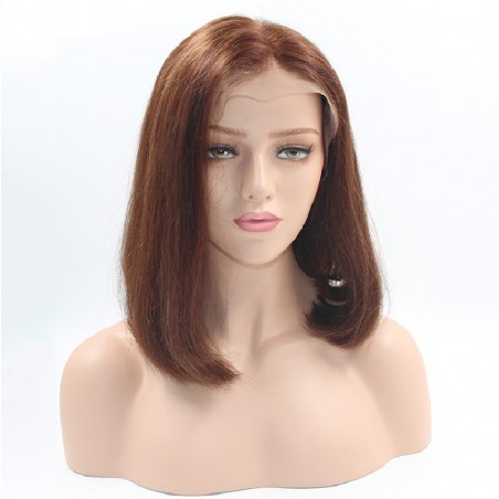 "Full Lace Wig, Bob, 10"", Color 6 (Medium Brown)"