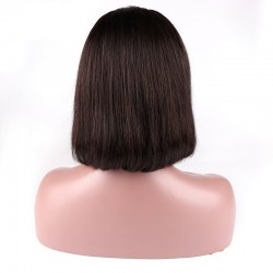 """Full Lace Wig, Short Length, 10"""", Bob Cut, Color #1B (Off Black), Made With Remy Indian Human Hair"""