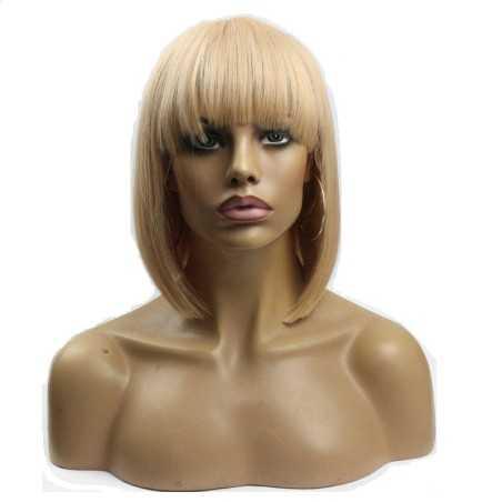 """Full Lace Wig, Bob with Fringe, 10"""", Color 18 (Light Ash Blonde)"""