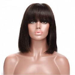 "Full Lace Wig, Bob with Fringe, 10"", Color 1B (Off Black)"