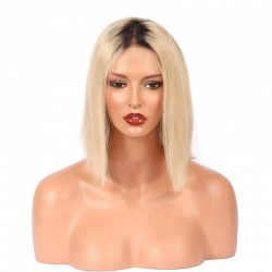 "Full Lace Wig, Bob, 10"", Ombre Color 1B/22 (Off Black / Light Pale Blonde)"