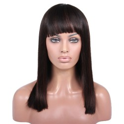 Full Lace Wig, Fringe, Highlight Color 1B/4 (Off Black / Dark Brown)