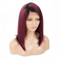 Full Lace Wig, Bob, Ombre Color 1B/350 (Off Black / Dark Wine Red)