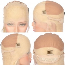 """Full Lace Wig, Short Length, 10"""", Color #24 (Golden Blonde), Made With Remy Indian Human Hair"""