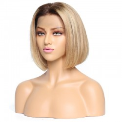 "Full Lace Wig, Bob, 10"", Ombre Color 4/27 (Dark Brown / Honey Blonde)"