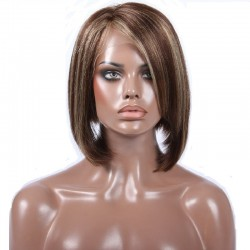 "Full Lace Wig, Bob, 10"", Hilghlight Color 4/613 (Dark Brown / Platinum Blonde)"