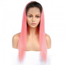 Full Lace Wig, Color 1B/Pink (Off Black / Pink)