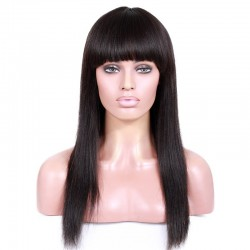 Full Lace Wig, Fringe, Color 1B (Off Black)