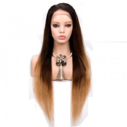 Full Lace Wig, Ombre Color 1B/4/27 (Off Black / Dark Brown / Honey Blonde)