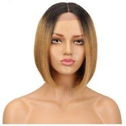 "Full Lace Wig, Bob, 10"", Ombre Color 1B/18 (Off Black / Light Ash Blonde)"