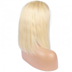 Full Lace Wig, Medium Length, Color #613 (Platinum Blonde), Made With Remy Indian Human Hair