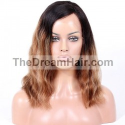 Full Lace Wig, Highlight Ombre Color 1B/4/60 (Off Black /Dark Brown / Lightest Blonde)