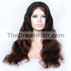 Full Lace Wig, Ombre Color 1B/4 (Off Black / Dark Brown)