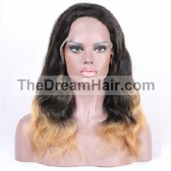 Full Lace Wig, Ombre Color 1B/18 (Off Black / Light Ash Blonde)