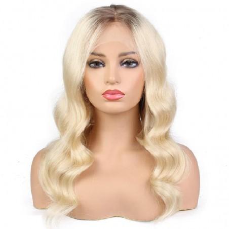 Full Lace Wig, Ombre Color 2/613 (Darkest Brown / Platinum Blonde)