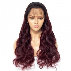Full Lace Wig, Ombre Color 1B/99j (Off Black / Burgundy)
