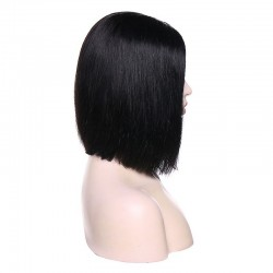 """Lace Front Wig, Short Length, 10"""", Bob Cut, Color #1 (Jet Black), Made With Remy Indian Human Hair"""