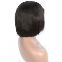 """Lace Front Wig, Short Length, 8"""", Bob Cut, Color #1B (Off Black), Made With Remy Indian Human Hair"""