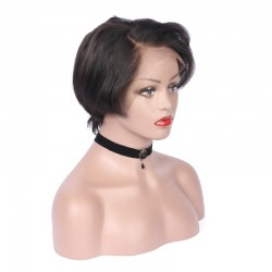 """Lace Front Wig, Short Length, 8"""", Pixie Cut, Color #1B (Off Black), Made With Remy Indian Human Hair"""
