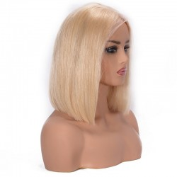 """Lace Front Wig, Short Length, 10"""", Bob Cut, Color #22 (Light Pale Blonde), Made With Remy Indian Human Hair"""