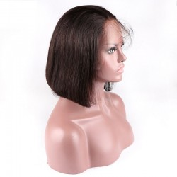 """Lace Front Wig, Short length, 10"""", Bob Cut, Color #1B (Off Black), Made With Remy Indian Human Hair"""