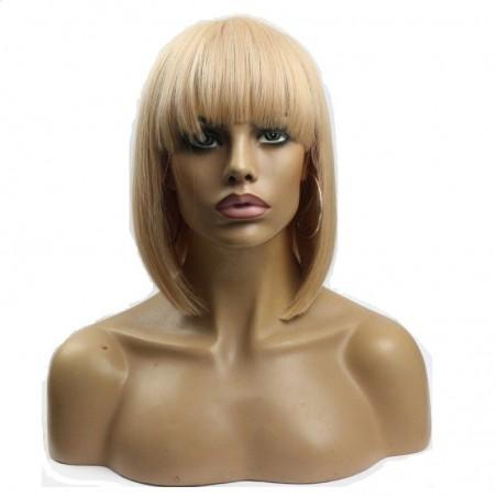 """Lace Front Wig, Bob with Fringe, 10"""", Color 18 (Light Ash Blonde)"""