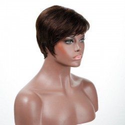 """Lace Front Wig, Short Length, 8"""", Pixie Cut, Color #2 (Darkest Brown), Made With Remy Indian Human Hair"""