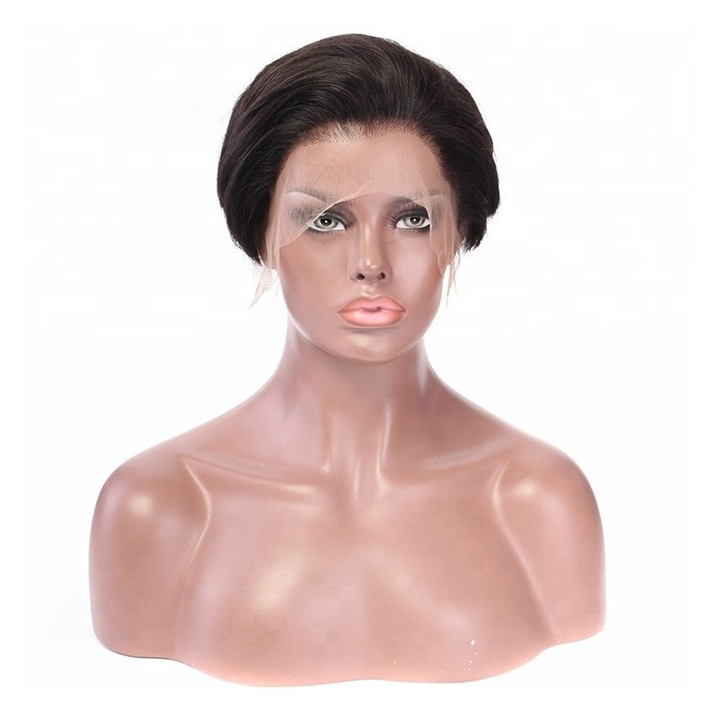 """Lace Front Wig, Short Length, 6"""", Pixie Cut, Color #1B (Off Black), Made With Remy Indian Human Hair"""