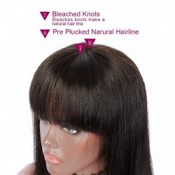 """Lace Front Wig, Short Length, 10"""", Bob Cut With Fringe, Color #1B (Off Black), Made With Remy Indian Human Hair"""