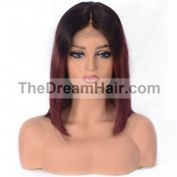 "Lace Front Wig, Bob, 10"", Ombre Color 1B/99j (Off Black / Burgundy)"