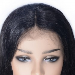 Lace Front Wig, Medium Length, Color #1 (Jet Black), Made With Remy Indian Human Hair