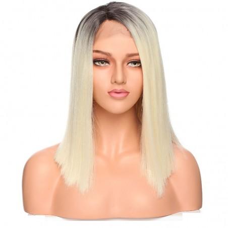 "Lace Front Wig, 16"", Ombre Color 1B/60 (Off Black / Lightest Blonde)"