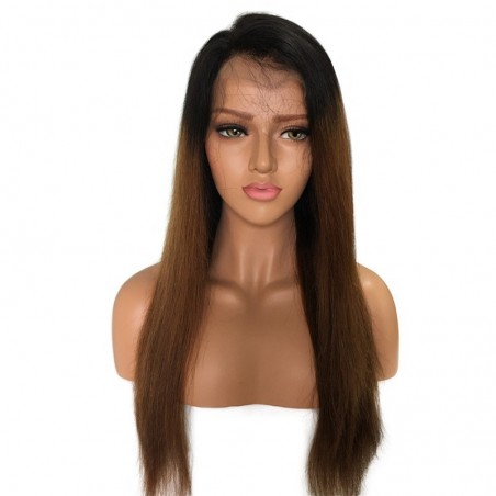 Lace Front Wig, Ombre Color 1B/4 (Off Black / Dark Brown)