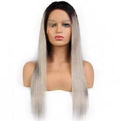 Lace Front Wig, Ombre Color 1B/Dirty Silver-Grey (Off Black / Dirty Silver-Grey)