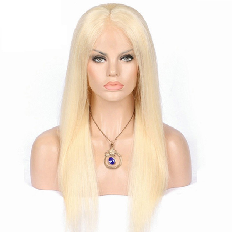 Lace Front Wig, Long Length, Color #613 (Platinum Blonde), Made With Remy Indian Human Hair