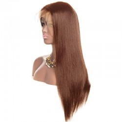 Lace Front Wig, Long Length, Color #4 (Dark Brown), Made With Remy Indian Human Hair