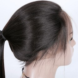 Lace Front Wig, Long Length, Color #1B (Off Black), Made With Remy Virgin Indian Human Hair