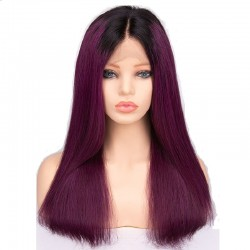 Lace Front Wig, Ombre Color 1B/Purple (Off Black / Purple)