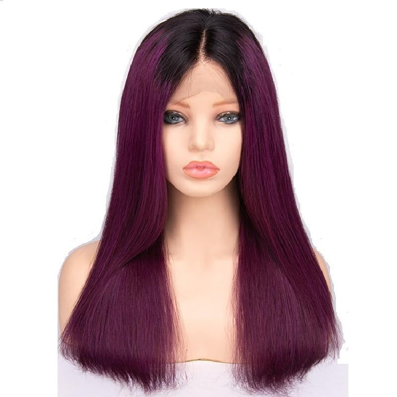 Full Lace Wig, Ombre Color 1B/Purple (Off Black / Purple)
