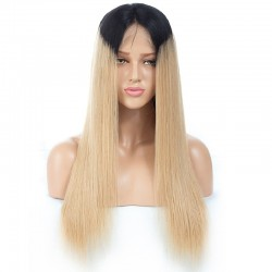 Lace Front Wig, Ombre Color 1/ 22 (Jet Black / Light Pale Blonde)