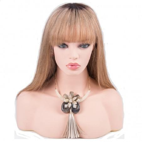 Lace Front Wig, Fringe, Ombre Color 2/16 (Darkest Brown / Medium Ash Blonde)