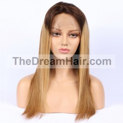 Full Lace Wig, Color 4/27 (Dark Brown / Honey Blonde)