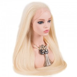 Lace Front Wig, Extra Long Length, Color #60 (Lightest Blonde), Made With Remy Indian Human Hair
