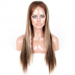 Full Lace Wig, Higlight, Color 4/613 (Dark Brown / Platinum Blonde)