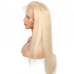 Lace Front Wig, Extra Long Length, Color #613 (Platinum Blonde), Made With Remy Indian Human Hair
